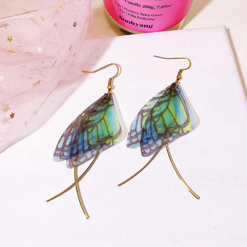 New Chiffon Butterfly Wings Earrings Retro Popular Simple Geometric Type Temperament Ladies Earrings