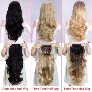 Image 5 - Silike Synthetische 3/4 Half Pruiken 24 Inch Lange Blonde Golvende Pruik Met Clip In Hair Extension 16 Kleur 210G voor Zwart Wit Vrouwen