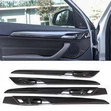 4pcs Carbon Fiber Interior Door Decoration Strips Cover Trim For BMW New X1 F48 2016-2018 X2 F47 2018 black ash wood car abs chrome console gear shift decoration cover trim for bmw x1 f48 2016 2018 x2 f47 2018 lhd