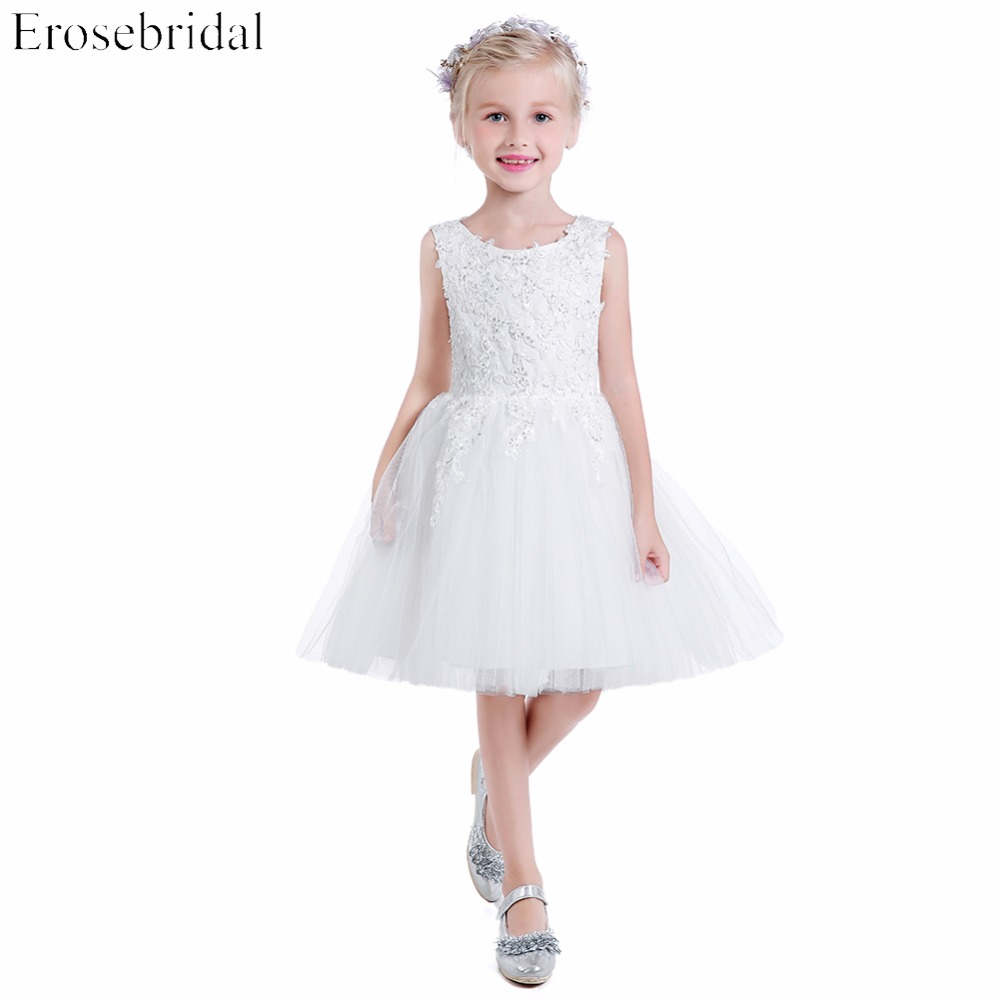 Beautiful 2018 A Line   Flower     Girls     Dresses   Erosebridal White Wedding   Girl     Dress   Appliques Bodice Party Wear Zipper Back BH-3663