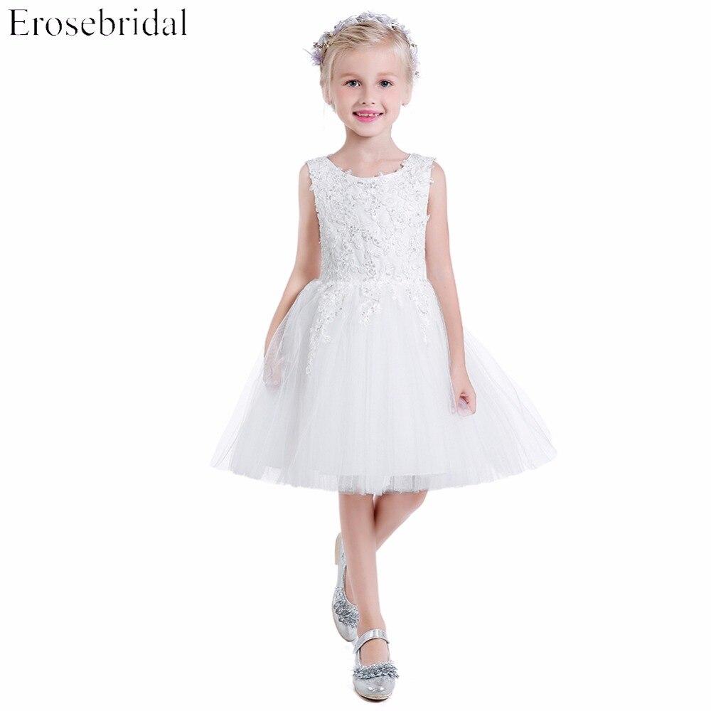 Beautiful 2019 A Line   Flower     Girls     Dresses   Erosebridal White Wedding   Girl     Dress   Appliques Bodice Party Wear Zipper Back BH-3663