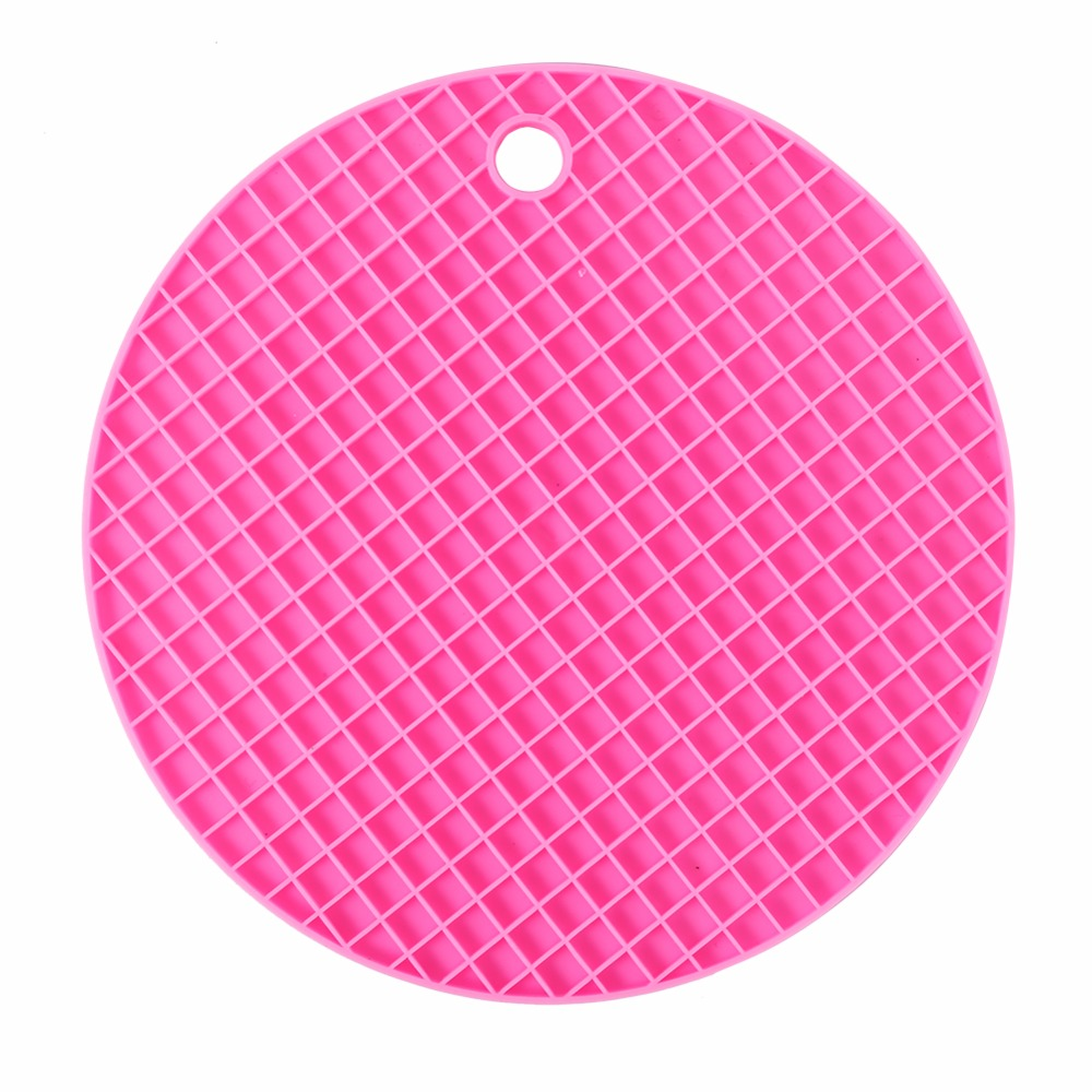 Dining table mats designs - Colorful Round Silicone Kitchen Table Mats Dining Table Placemat Coaster Cup Mat Kitchen Accessories China