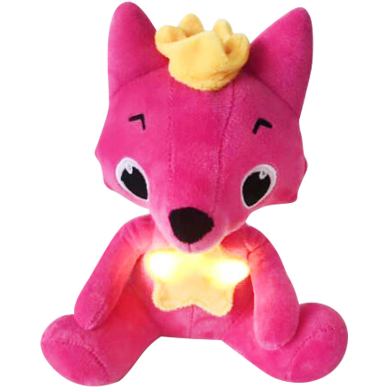 20cm Children's Educational  Plush Toy Pink Fox Doll Light Singing With Music Baby Doll Fong