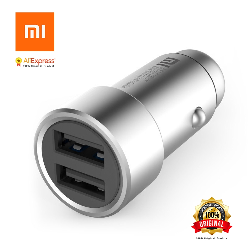 Xiaomi Mi Car Charger Mi 2-in-1 Double Dual USB Port Adapter Metal Style Silver Mobile Phone Fast Charging Free Shipping