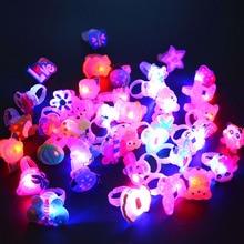 50PC Cartoon LED מהבהב אור עד זוהר אצבע טבעת צעצועי מפלגה בעד מתנות לבית תפאורה יום הולדת