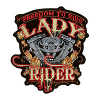 Punk Motorcycle Locomotive Lady Rider Badge Embroidery Cloth Stickers Free Gallop US Version Fashion Back Patches For Clothing