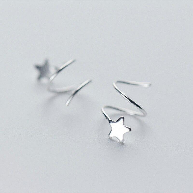 100% 925 Sterling Silver Women Small Star Ear Bones Ear Buckle Ring Tightly Packed Mini Double Ring Earrings ...