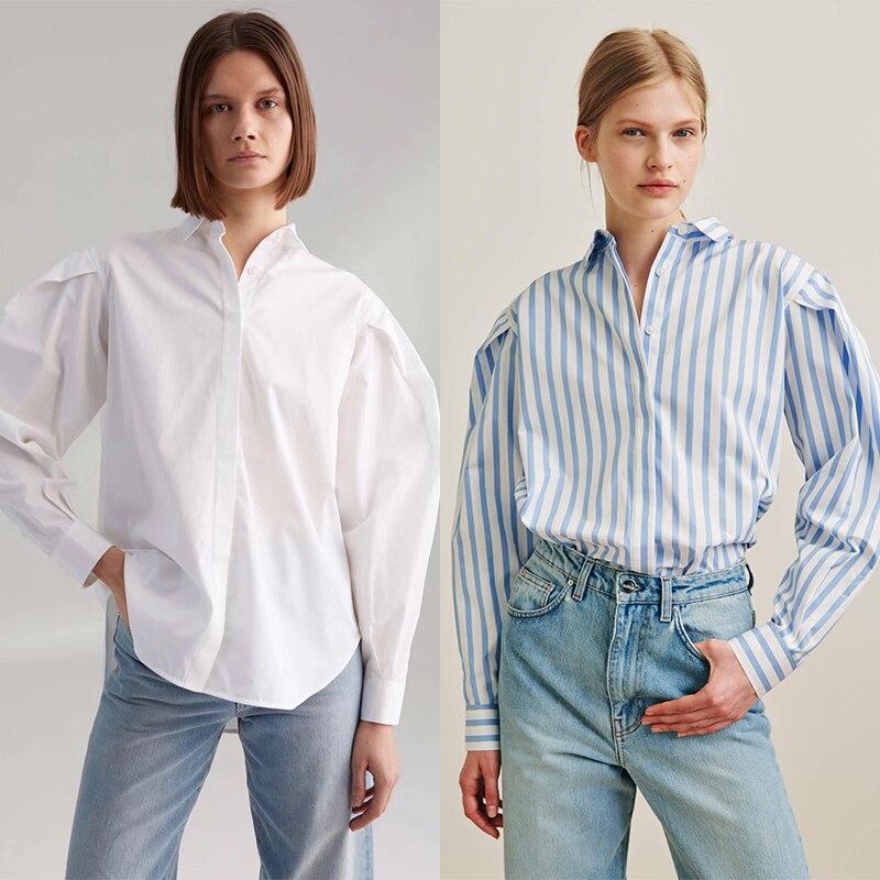 2019 blouse lâche doublé de rayures verticales bleues manches de lanterne plissée silhouette crème solaire femmes chemise