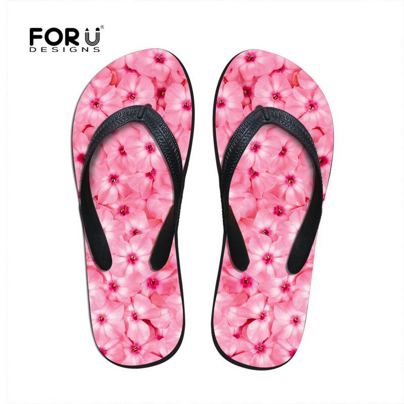502cf9c463c9e4 Fashion Flip Flops Women Shoes Pink Sweet Floral Sandals Flat Slipper for Lady  Summer Style Massage