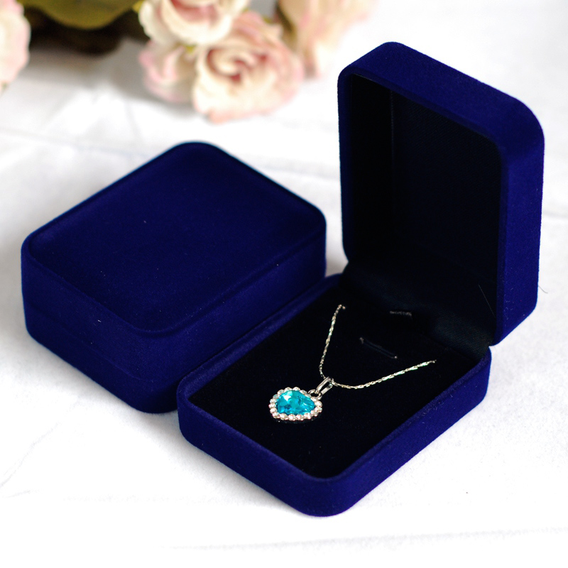 1pcs Fashion Wedding Rectangle Blue Velvet Pendant Box Jewelry Display Square Gift Box Packaging Necklace Box Case