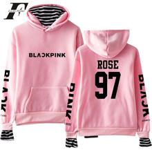 BTS 2018 Kpop Blackpink Casual Loose Fake Two Piece Hoodies sweatshirts Long Sleeve Korean Style Women Men hit hop clothes(China)