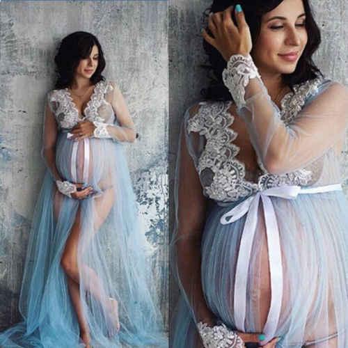 Phụ Nữ mang thai Phối Ren Tay Dài Bộ Đồ Đầm Nữ Maxi Váy Chụp Ảnh Chụp ảnh Quần Áo Quần Áo
