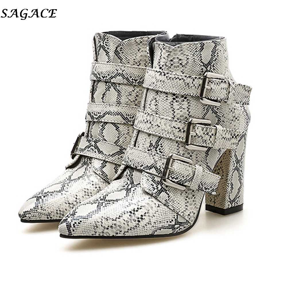 fed4031fb233 SAGACE Winter Women Ankle Boots Fashion Snakeskin Pattern Toe Zip Belt  Buckle Strap Shoes Thick Pointed