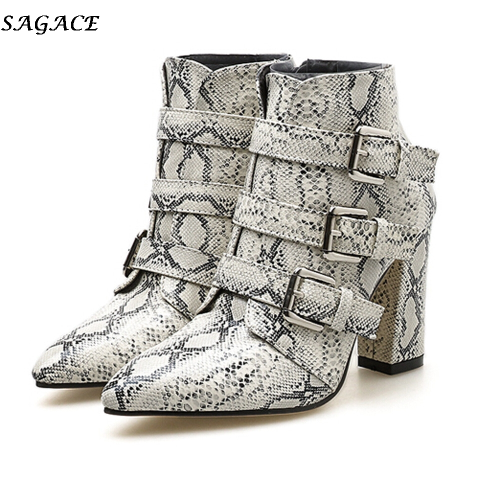 a3c1a63329 SAGACE Winter Women Ankle Boots Fashion Snakeskin Pattern Toe Zip Belt  Buckle Strap Shoes Thick Pointed Lace-up Martain Boots#35