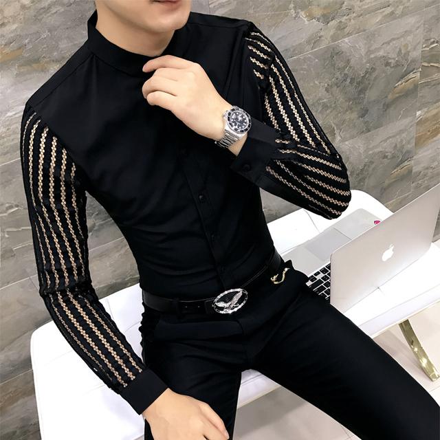 029c38af481b Korean Shirt Men Fashion 2018 Spring Hollow Lace Long Sleeve Tuxedo ...