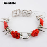 Harajuku Punk Gothic Silver Long Spiked Choker Six Colors Charm Rose Flowers Necklace Handmade Vinyl Spikes