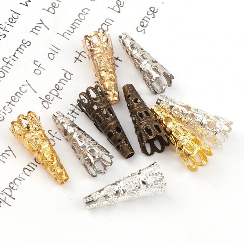 Мм 6×12 мм Винтаж филигрань металлический Рог полые цветок Spacer рондели для бусин Стеклянный флакон-подвеска с наполнителем инструменты для наращивания волос ювелирных изделий