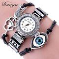 Duoya Brand Watch Women Luxury Brand Love Heart Arrow Eye Vintage Bracelet Quartz Wristwatches Crystal Rivet Bracelet Watch