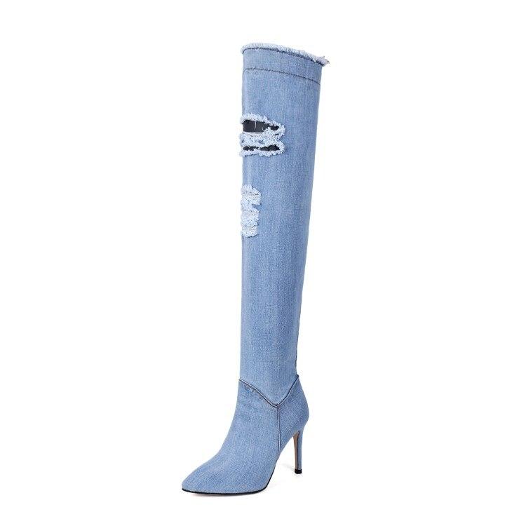 Otoño Botas azul Tacón Alta La Moda {zorssar} Encima Negro Estrecha Cielo Mujer Caliente azul Verano De Jeans Por 2018 Calidad Punta Rodilla Zapatos Alto qaaYE1zw