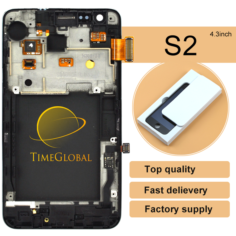 5pcs Free DHL Shipping 4.3' tested Original For Samsung Galaxy S2 i9100 LCD Digitizer Assembly with frame - White/Black  цены