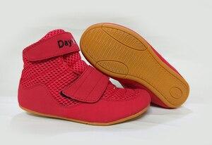 Zapatos de lucha para niños, calzado de Kick Boxing, talla 30, 35, Color rojo, negro y verde