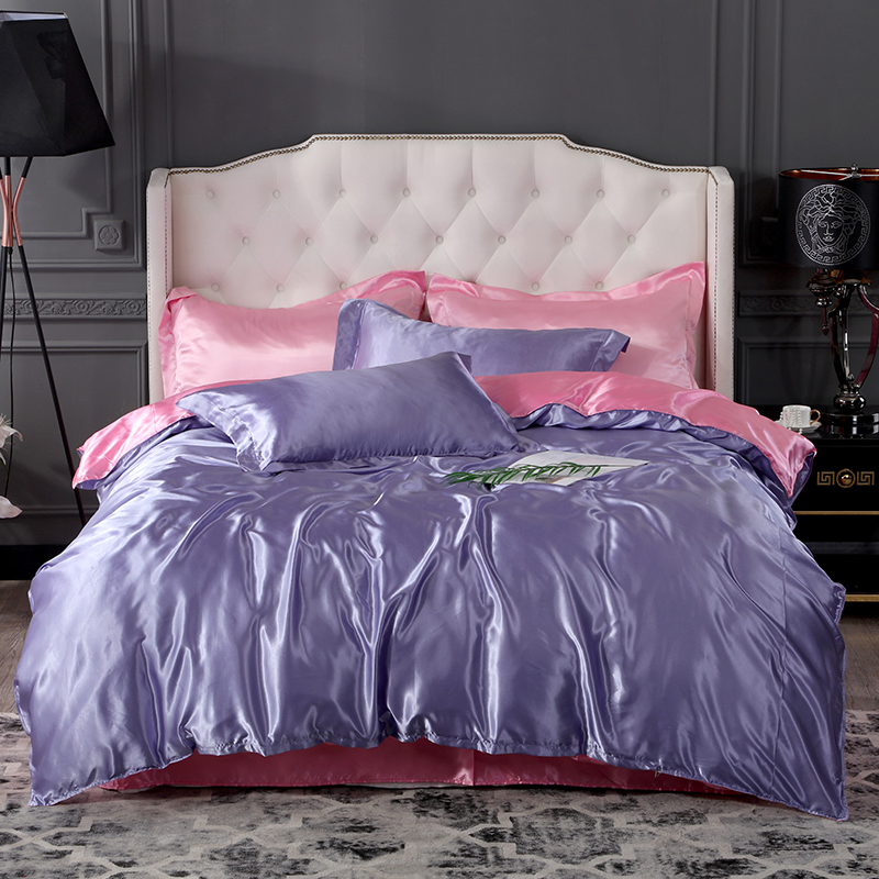 Satin de soie imprimé draps plats ensemble draps housse avec housse de couette et taie d'oreiller 4 pièces ensembles de drap de lit ensemble complet drap de lit