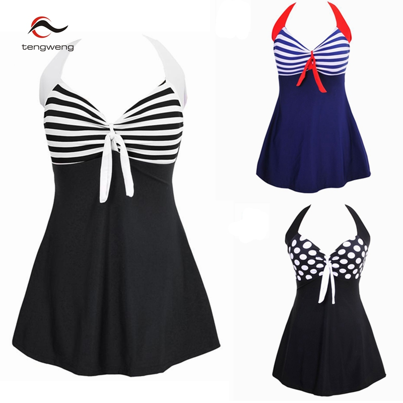 Sexy Plus Size Stripe Padded Halter Skirt Swimwear Women One Piece Suits Swimsuit Beachwear Bathing Suit Swimwear Dress M To 4XL sexy plus size skirt swimwear women one piece suits swimsuit beachwear bathing suit swimwear dress 4xl to 8xl