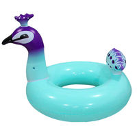 Inflatable Swimming Swim Ring Pool River Lake Beach Raft Floating Tube Ring Blue peacock swim ring Environment protecting PVC A7