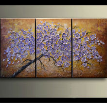 3 Piece Hand Painted Palette Knife violet Tree Oil Painting Wall Art Canvas Picture Modern Abstract Home Decor Living Room Set