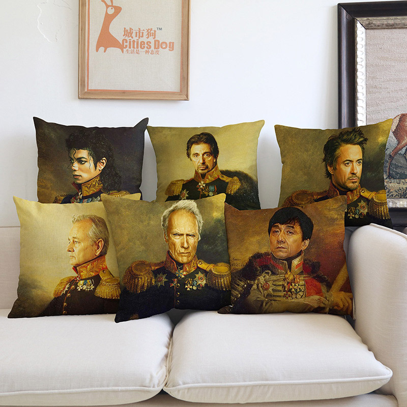 Russian Classical Painting Style Celebrity Star Wear General Costume Image Pillow Case Sofa Decoration Cushion Cover Jackie chan