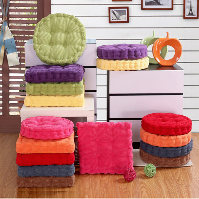 New Fashion Thicker Soft  Washable Cotton Seat Cushion 36*38cm Round Shape Plaid Chair Pad Cushion Colorful Home Decor Floor Mat