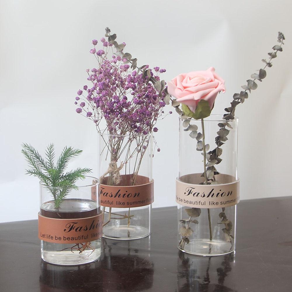 Nordic Glass Vase With Leather Home Table Decoration Transparent Water Hydroponics Dried Flower Arrangement Vase Diy Bottle Flower Pots Planters Aliexpress
