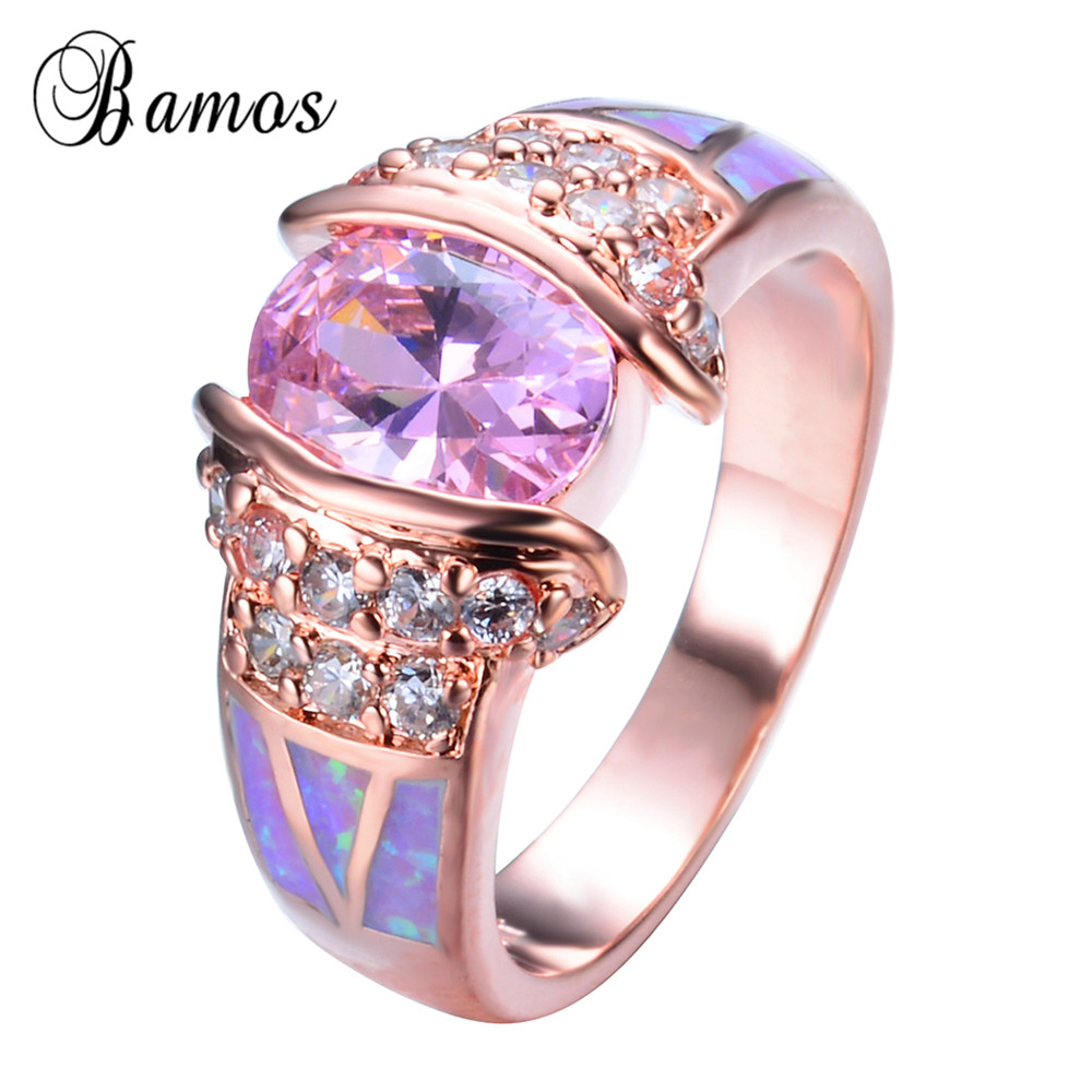 Rose Gold Filled Unique Design Pink Fire Opal Ring Crystal Fashion ...