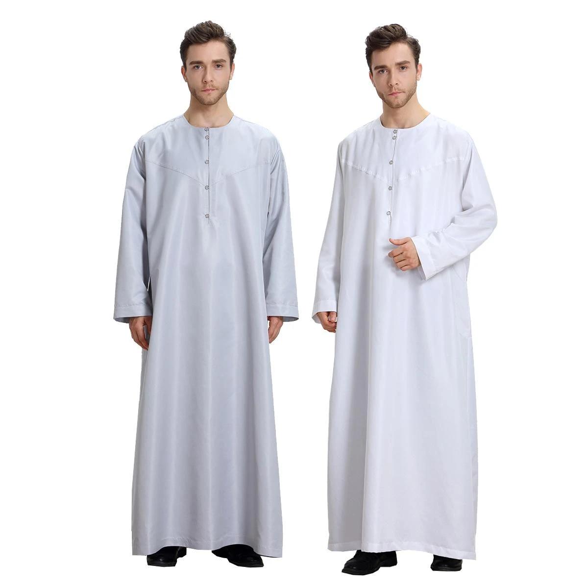 58-62 Mens Saudi Style White Thobe Arab Robe dishdash Islamic Clothing Jubba