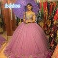 Precioso vestido de Bola de mascarada Vestidos de Quinceañera Con Cuentas de Oro Rosa Oscuro Con Volantes de Tul Dulce 16 Vestido de Partido Del Vestido Vestidos de 15 anos