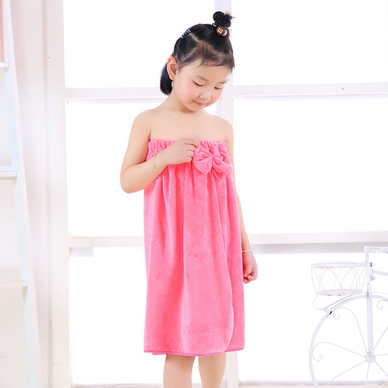 7-11Y Comfortable Children Bathrobe for Girls High Elastic Kids Pajama Bowknot Dressing Gown Kids Bath Robes Soft Kids Clothing