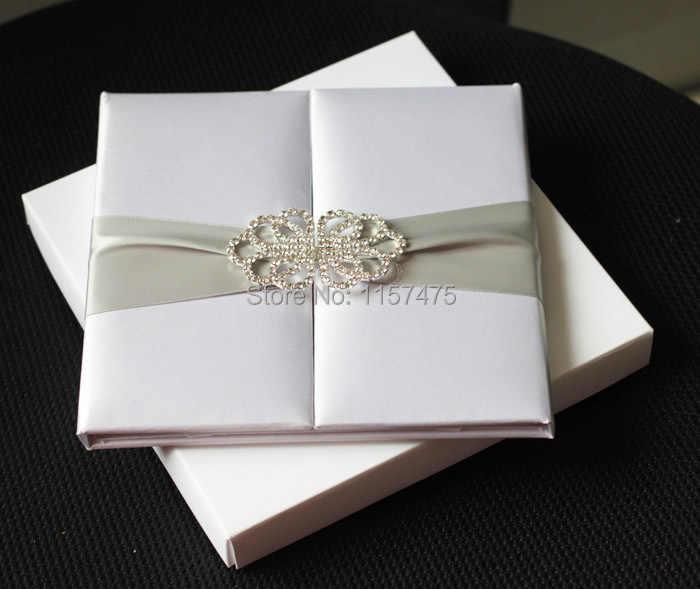 Free Shipping HI2003 Hot Sale Silk Folio Wedding Invitation With