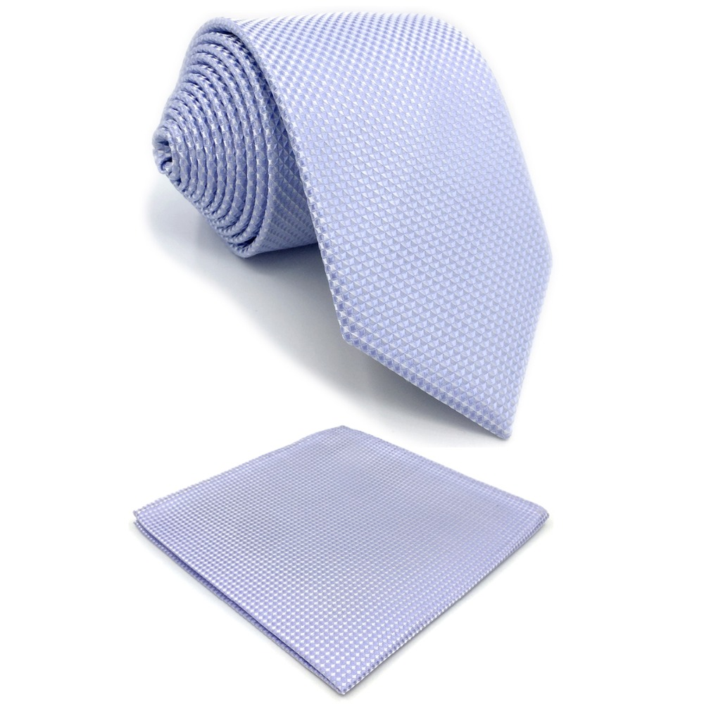 E25 Lavender Solid Purple Silk Mens Necktie Set Wedding Fashion Ties For Male Novelty Dress Hanky Extra Long Size