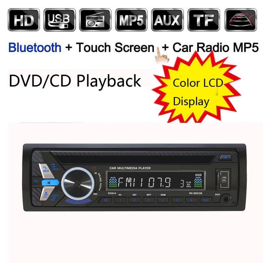 2017 NEW Bluetooth Car Audio Stereo FM DVD CD MP3 Player Receiver USB SD AUX Input Car-styling drop shipping nov10 1563u 1 din 12v car radio audio stereo mp3 players cd player support usb sd mp3 player aux dvd vcd cd player with remote control