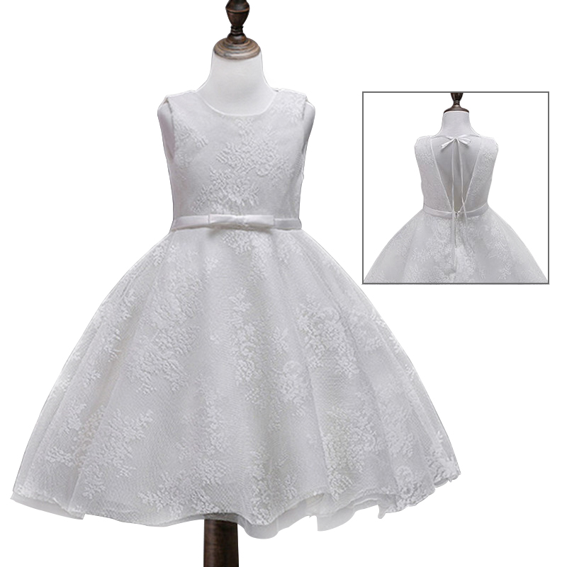 Toddler Girls Baby Girl Princess Party Dress Lace Flower Princess Children Dress For Wedding Girls Birthday Prom Dresses White summer kids girls lace princess dress toddler baby girl dresses for party and wedding flower children clothing age 10 formal