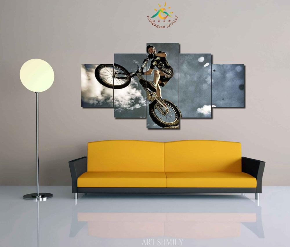3 4 5 Pieces Flying Bike Modern Wall Art Pictures HD Printed Canvas ...
