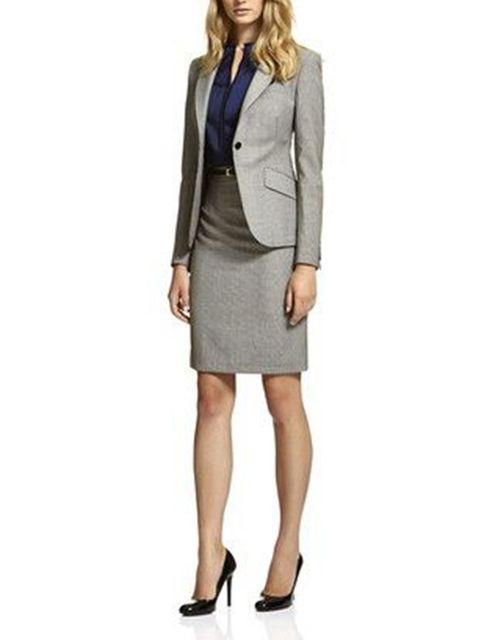 4769c14da05 Two Piece Set Office Uniform Designs Women Elegant Fashion Skirt Suits  Ladies Business Outfits Suit B336