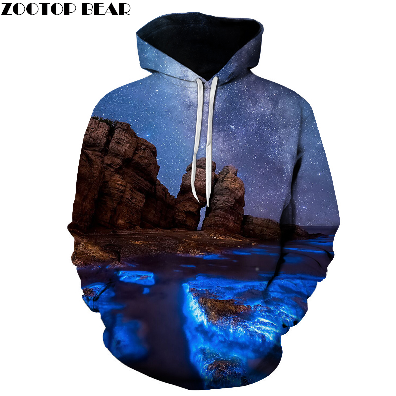 Funny Printed landscape Hoodies Men Women Sweatshirts Loose Pocket Jackets Quality Tracksuits 3D Pullover Hooded outwear