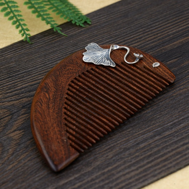 Thai Silver Ebony Hair Comb Vintage Silver Ginkgo Leaf Wooden Comb Leaf Chinese Style Jewelry Hair Accessories 9.4cm WIGO1229