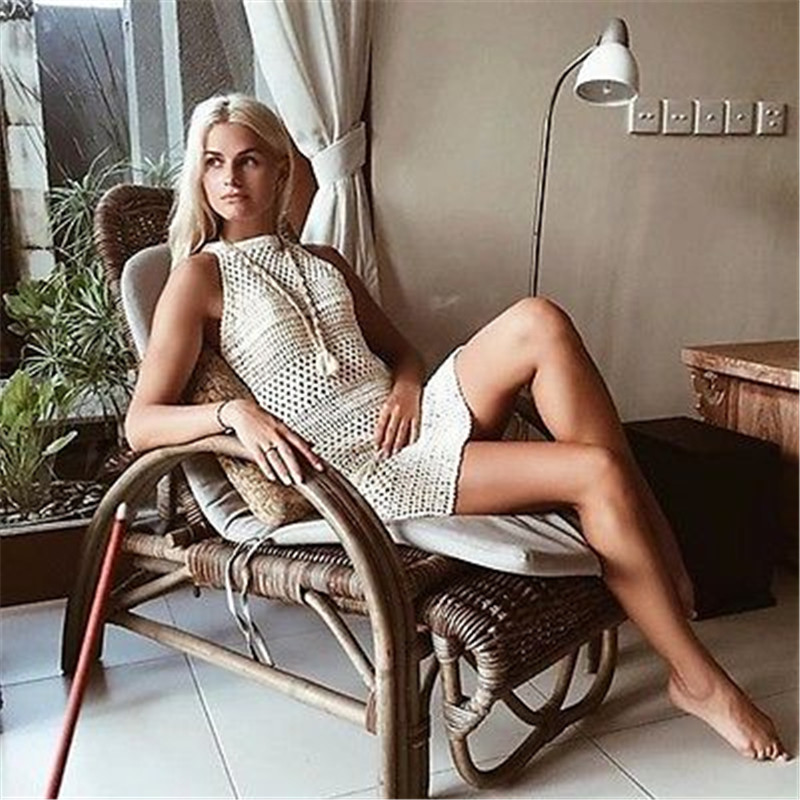 Women's Clothing Fashion Sexy White Long Dress Women Chiffon Sleeveless Bikini Swimwear Dress Beach Sexy Swimsuit Smock Split Dress Hx0315 Pretty And Colorful