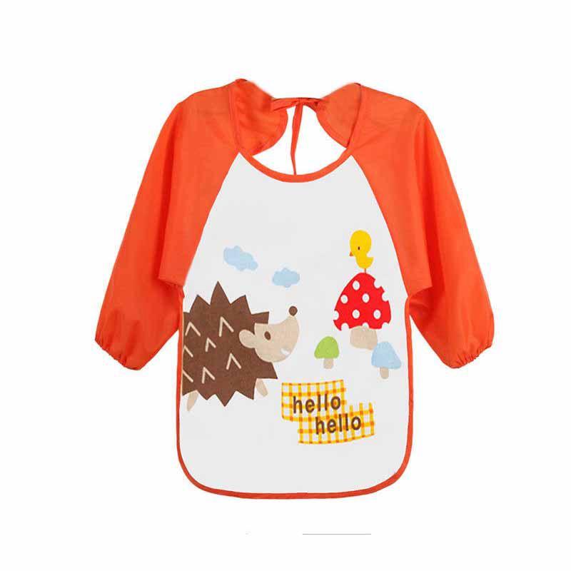 HOT SALE Baby Toddler Waterproof Long Sleeve Children Kids Feeding Art Smock Bib Apron Blue small car