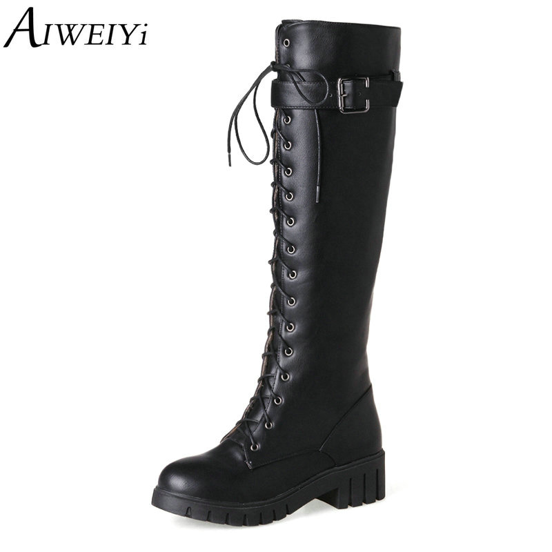 AIWEIYi Women Thigh High Boots Round toe Thick Med Heel Platform Shoes Lace Up Knee High Boots Black Motorcycle Boots jialuowei women sexy fashion shoes lace up knee high thin high heel platform thigh high boots pointed stiletto zip leather boots