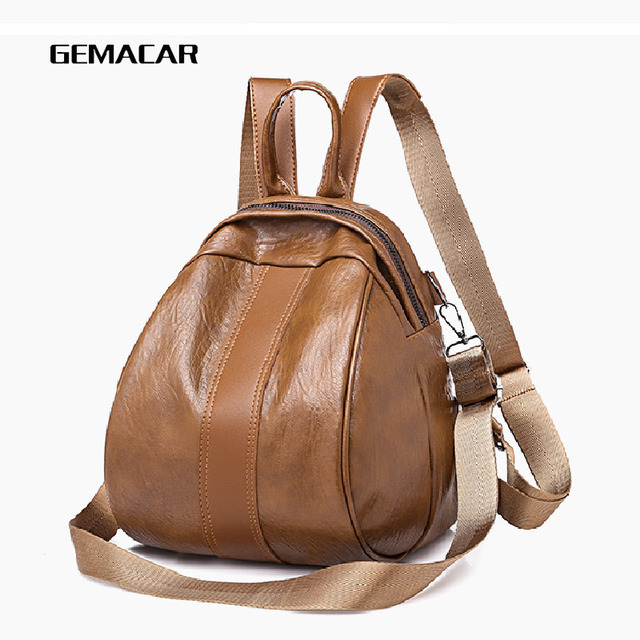 3f68da7e840d Casual Ladies Backpack Popular Wild Small Shopping Backpack Fashion Soft Pu  Leather Student Bag Classic Design