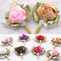 Элегантные Свадебные корсаж Невесты Корсаж свадебные жених корсаж цветок 2015 Мода Искусственный Розовыми Цветами Красочные на складе WF013
