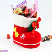 Christmas Decorations Cloth Bag Plastic Flocking Pen Container Christmas Shoes Storage Box Saco De Armazenamento Natal 2017@GH